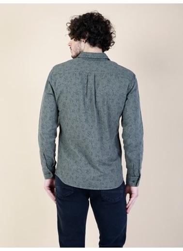 Colin's Desenli Uzun Kollu Gömlek Haki